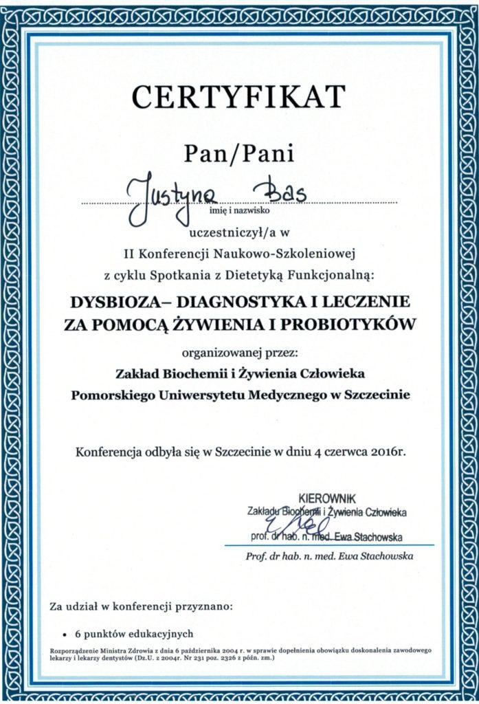 dysbioza certyfikat